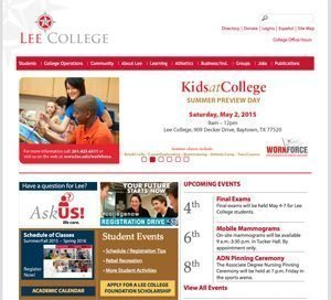 Lee College home page screenshot