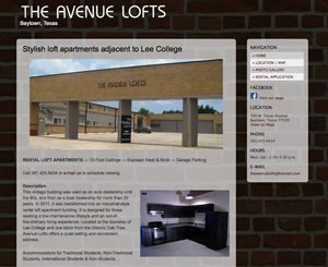 Avenue Lofts Baytown home page screenshot