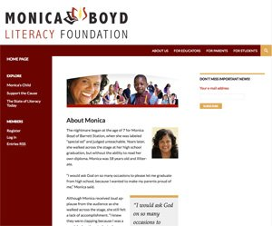Monica Boyd Literacy Foundation home page screenshot