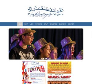 Bay Area Youth Singers home page screenshot