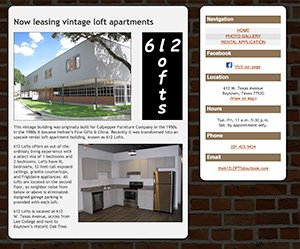 612 Lofts Baytown home page screenshot