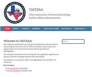 TACCSAA home page screenshot